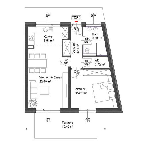 Top 1 Wohnung im Erdgeschoß mit Terrasse