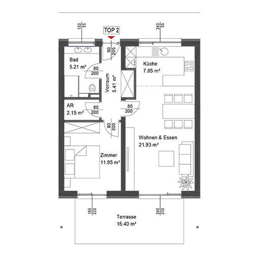 Top 2 Wohnung im Erdgeschoß mit Terrasse