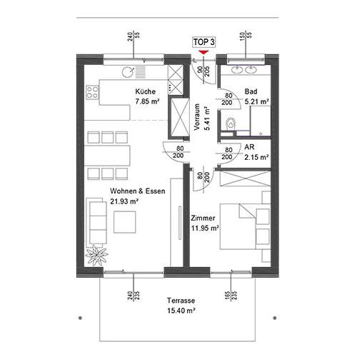 Top 3 Wohnung mit Erdgeschoß mit Terrasse