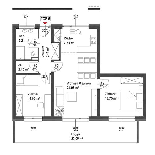Top 6 Wohnung im 1. Obergeschoß mit Loggia
