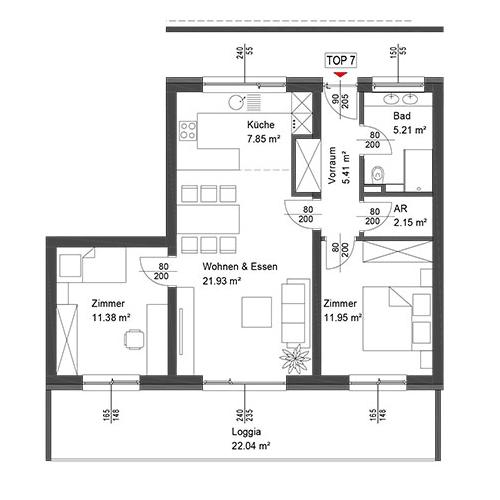 Top 7 Wohnung im 1. Obergeschoß mit Loggia